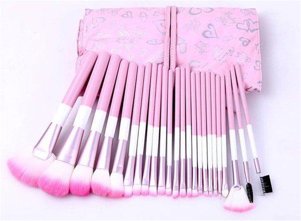 24 Unids Rosa Pinceles de Maquillaje Conjunto de Alta Calidad Pro Blush Foundation Powder Brush Kit de Herramientas de Belleza Cosmética Con el corazón Rosa Bolsa Bolsa DHL libre