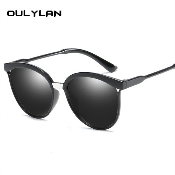Oulylan Brand Designer Cat Eye Sunglasses Mujeres Luxury Vintage Plastic Sun Glasses Hombres Classic Retro Cateye Eyewear
