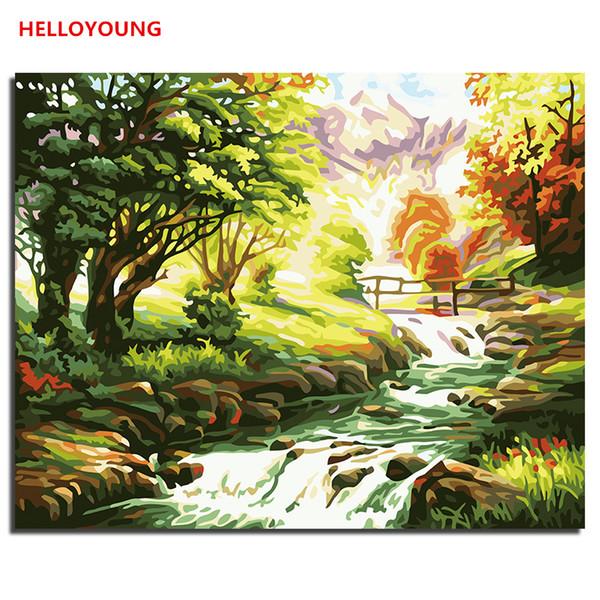 HELLOYOUNG цифровая картинка рисунок Картина Горный ручей по номерам Картины маслом китайские Спиральные картины Home Decor