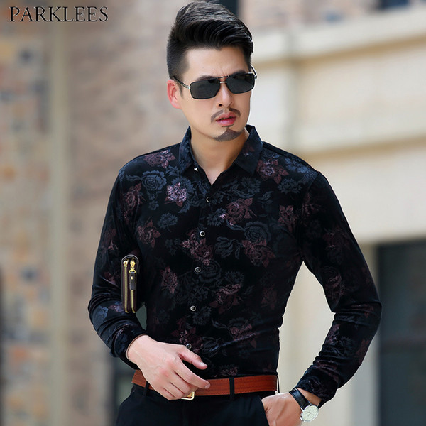 Luxury Brand Floral Velour Shirt Men 2018 Autumn New Slim Fit Long Sleeve Dress Shirts Mens Party Club Velvet Shirts For Men 3XL