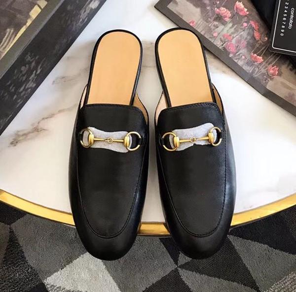 Tasarımcı terlik Kadın loafer'lar Horsebit toka Baotou yarım terlik metal toka tembel ayakkabı yaz bayanlar düz ayakkabı lüks terlik sandal