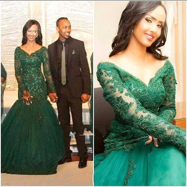 2018 Green Custom Made Evening Dresses V Neck Long Sleeves Crystals Puffy Skirts Mermaid Prom Gowns BA7490 For Plus Size Mother Dress