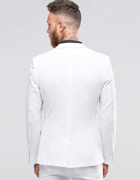 2018 Summer Handsome Man Suit White Groom Tuxedos Slim Fit Casual Groomsmen Wedding Suits For Man Bridegroom 2 Pieces Best Man Jacket +Pants