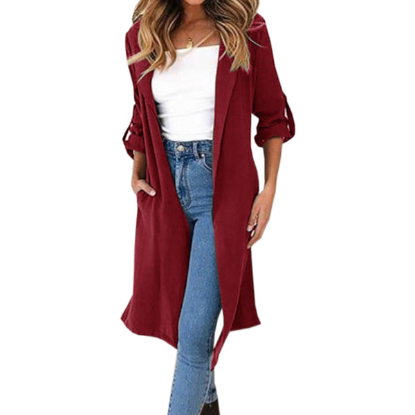 Elegant Lady Long Trench Coat Women Work Wear Trench Pockets Casual Buttons Femme Long Sleeve Autumn Open Stitch Outerwear GV082