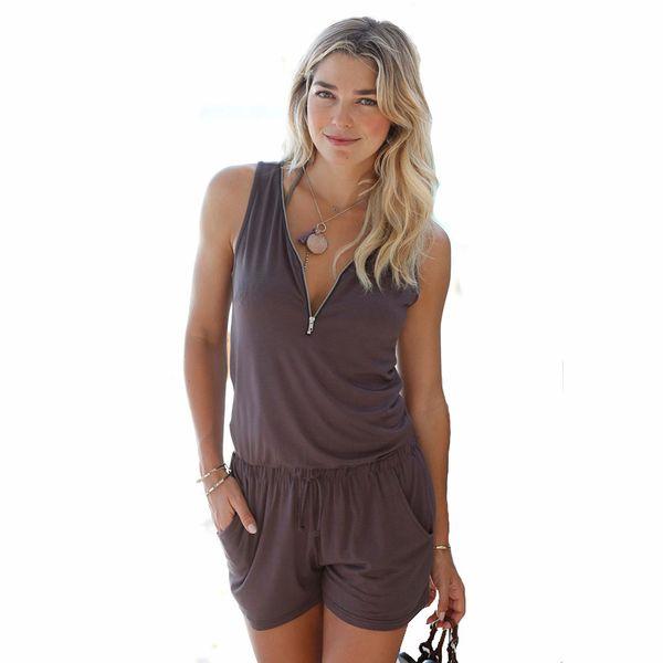 Tuta sexy senza maniche T-shirt con scollo a V con scollo a V Pantaloncini tuta pantalone Pagliaccetto Summer Fashion Tuta da spiaggia Femme Felpa Tuta da donna