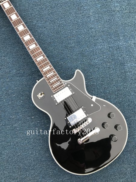 Hot Sale Factory Wholesale Black Beauty 2 Pickups Ebony Fingerboard Custom Electric Guitar White Hardware Free Shipping