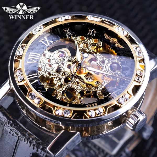 Kazanan Siyah Altın Retro Işıltılı Eller Moda Elmas Ekran Erkek Mekanik İskelet Bilek Saatler Üst Marka Lüks Saat S923