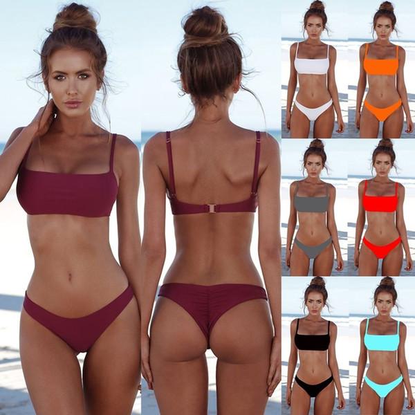 8 Renkler Bikini Moda Kadınlar Push Up Bikini Set Seksi Katı Renk Yaz Sıcak Mayo Mayo Rahat Beachwear Sütyen