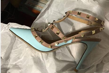 Brand Women Pumps Wedding Shoes Woman High Heels sandal Nude Fashion Ankle Straps Rivets Shoes Sexy High Heels Bridal Shoes Size35-42