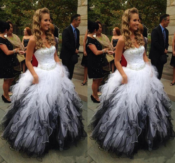 Sweet Sixteen Quinceanera White Plus Black Tulle Dresses Plus Size Crystals  Sweetheart Masquerade Ball Gowns Tiered Ruffles Sweep Train Formal Evening  ...