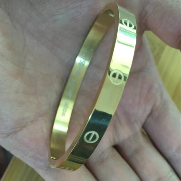 con logo Oro rosa dorado plata Color Mujer Cuff Nail Bangle Joyería de acero inoxidable Marca Love Bracelet Brazalete para mujer y hombre Pulseiras