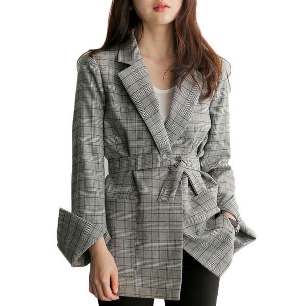Cinza xadrez gravata cintura blazers Outono 2017 mulheres blazers jaqueta de trabalho para usar senhoras Elegantes jaquetas casuais casaco streerwear Moda