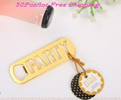 (50 Pieces/lot) Newest Gold wedding gifts for guests of Gold Party Bottle Opener bridal shower and Wedding souvenirs