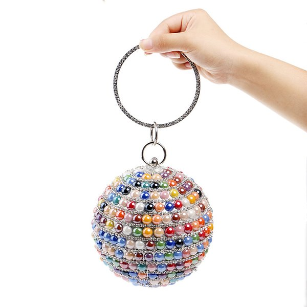 Evening Bag Mixed Color Women Ball Handbags Handle Beading Evening Clutch Bags Beaded Round Design Party Clutch Dinner Bags