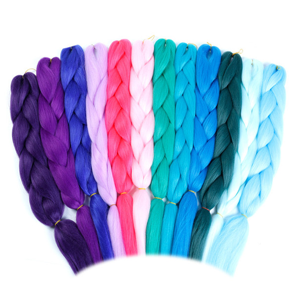Pure Color Pink Purple Blue Blonde Color Synthetic Kanekalon Jumbo Braids Ombre Braiding Hair Extension White Women