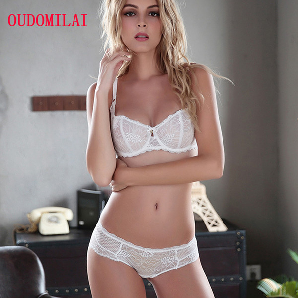 9a98bc25e1 OUDOMILAI Fashion New Bra Set Noble Breathable Unlined Push Up Underwear Set  White Black Lace Intimate Ladies Sexy lingerie