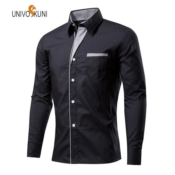 UNIVOS KUNI 2018 Spring New Fashion Large Size Men Shirt Long Sleeve Slim Fit Men's Shirts High Quality Cotton Men Shirts O600