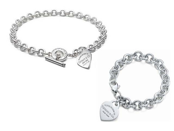 High Quality Celebrity design Letter 925 Silver bracelet necklace Silverware Fashion Metal Heart-shaped necklace Jewelery Set With Box