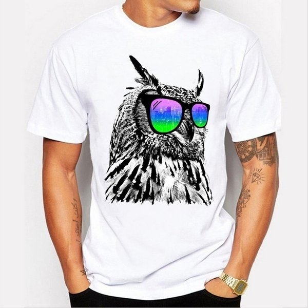 The latest summer fashion men's personality owl pattern printed t-shirt casual short-sleeved round neck white couple t-shirt