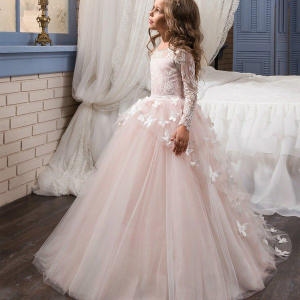 Pageant Formal Long Sleeve Champagne Gowns Lace Flower Girl Dresses For Wedding TuTu Floor Length Custom Made Kids Party Birthday Dress