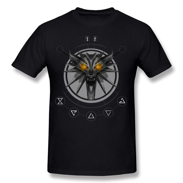 Classic Man 100 Cotton The Witcher White Wolf Wild Hunt T Shirts Man Crewneck Navy Blue Short Sleeve T Shirt Plus Size Casual T Shirts