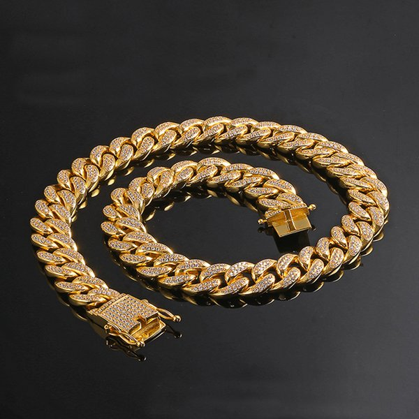 12mm width 18inch 20inch 24inch Iced out Bling bling Copper Cuban Chain Hip Hop micro pave Necklace Jewelry for men CN001