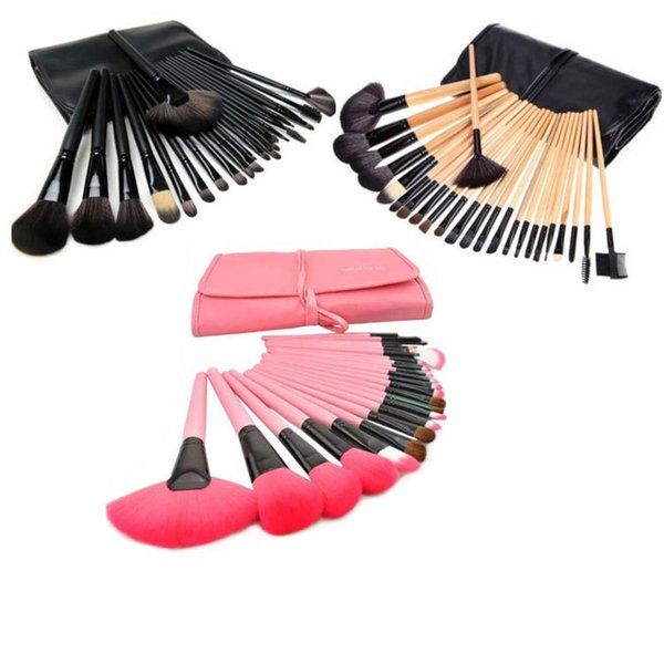 24Pcs Makeup Brushes Cosmetic Brush Set Kit Makeup Brushes Pink Wood Handle+Goat Hair + Leather Case 3 Colors DHL Free Shipping