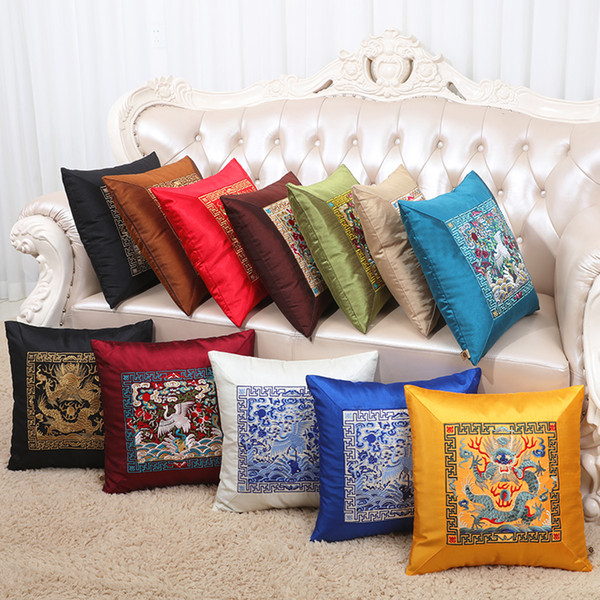 Patchwork Chinese Embroidery Crane Lumbar Cushion Satin Pillow Case Christmas Vintage Decorative Cushion Covers for Sofa Chair 45x45cm