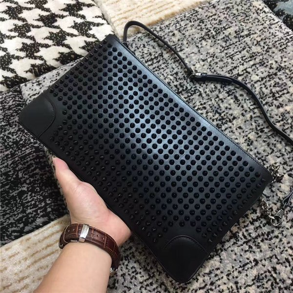 2018 Women Fashion Chains Shoulder Bag Rivets Purses, Luxury High Quality Spike Clutch Genuine Leather 7 Colors Studs Rivets Messenger Bags