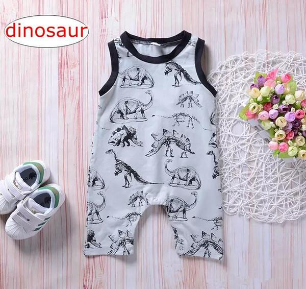 INS Bebê Impressão Dinossauro Macacão Infantil menino bonito Onesies Romper Animal Dos Desenhos Animados Sem Mangas Bodysuit de Algodão Roupas 0-24 M