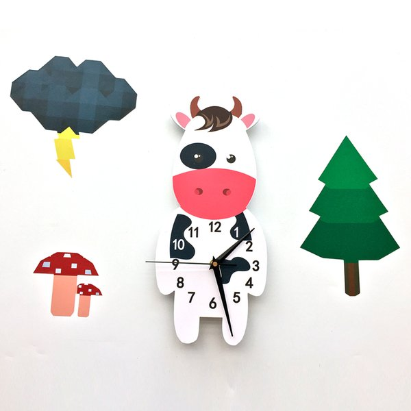 Wholesale 1 PCS 3D Self-Adhesive Waterproof Cow PVC Wall Decals Clock Decor for Nursery Bedroom Decoration Free Shipping