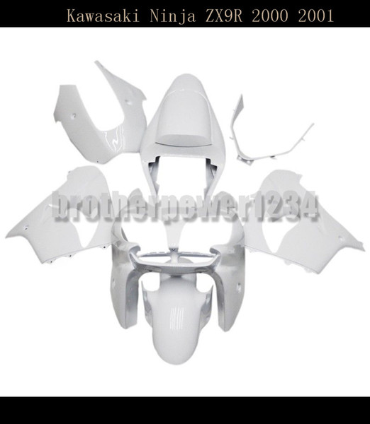 Motorcycle ABS Plastic Painted Compression Mold Bodywork Fairing Kit Set For Kawasaki Ninja ZX9R 2000 2001Gloss White