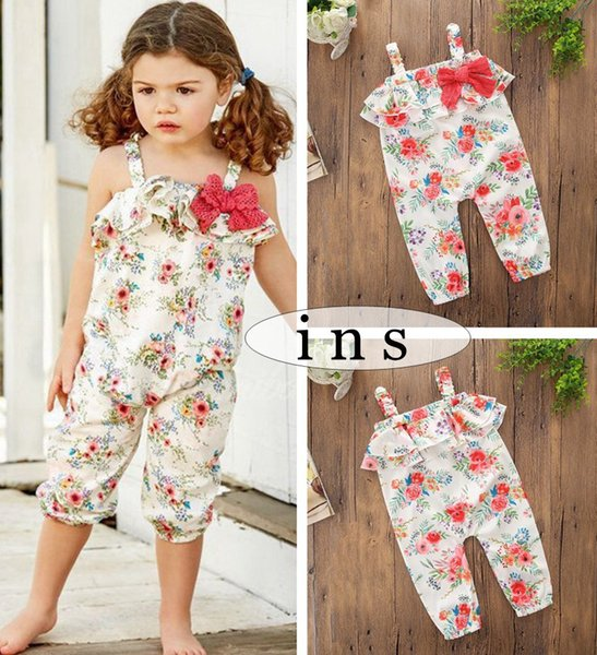 INS Girls flower ruffle Rompers with bowknot Children Girl Summer floral full print Jumpsuits Newborn sleeveless ROMPERS 5size best for 1-5T