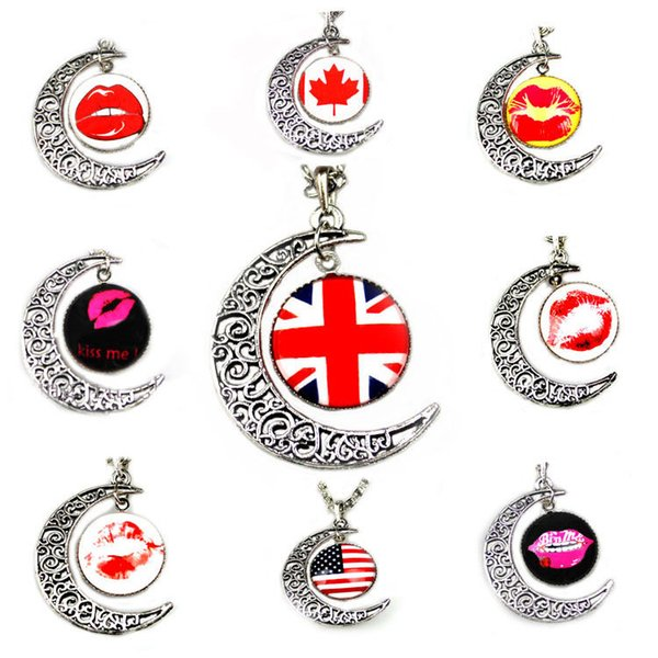 USA UK CA National Flag Metal Glasses Necklace for World Cup Moon Shaped Pendants Chocker for Football Fans