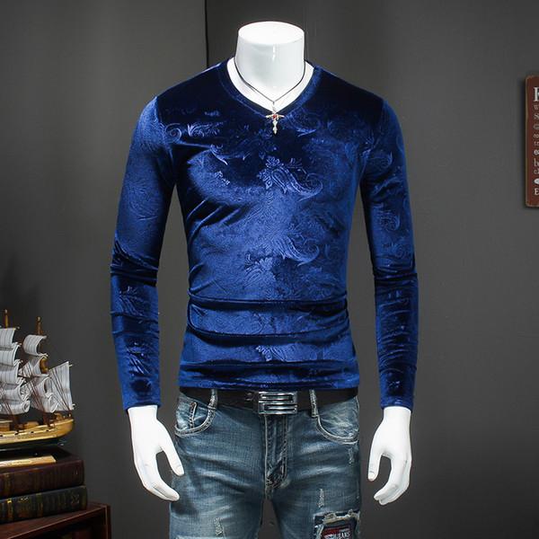 V Neck T Shirts for Men Slim Fit Velvet T Shirts Mens Royal Blue Winter Tshirt for Men Brown Tee Fashion 2018 Cashew Flowers Top