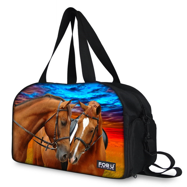 Horse Lover Travel Bags Hand Luggage Women Men Totes Outside Waterproof Shoulder Duffle Bag Canvas female male