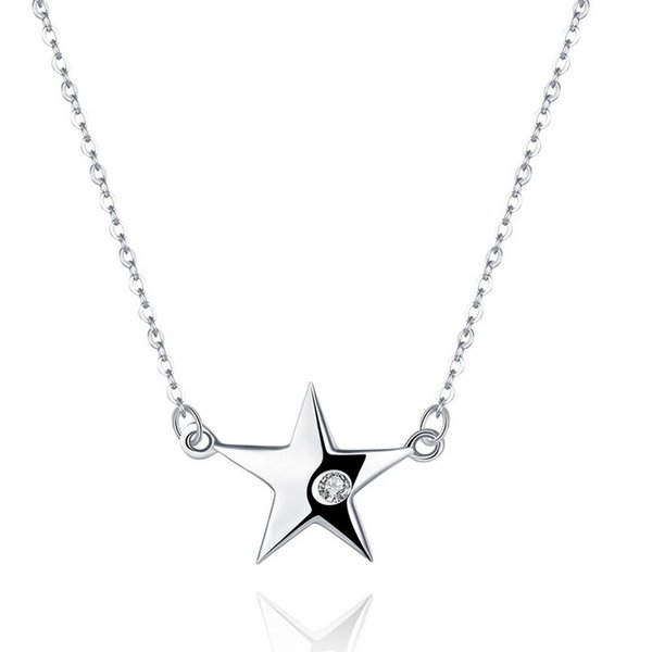 Sterling Silver 925 Necklace Lady Party Jewelry Pure Silver Big Star Zircon Pendant Necklace Free Shipping n088