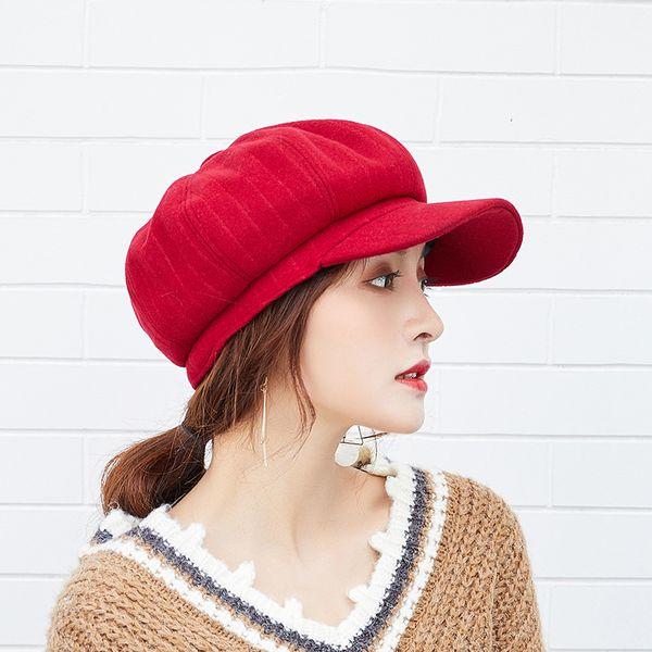 2018 Primavera Otoño Moda Mujeres Rayas Vendedor de periódicos Octagonal Sombrero Retro Boina sombreros de ala curva Cabble Cap Gatsby Golf Caps