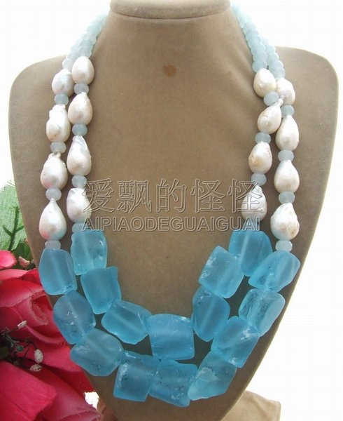N051707 Bead-Nucleated Pearl&Blue Quartz Rough Necklace
