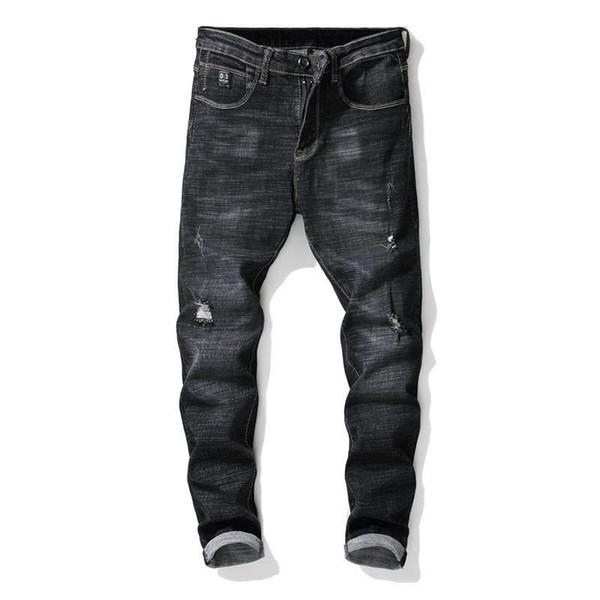 Brand Designer Slim Fit Ripped Robin Jeans For Men Hi-Street Mens Distressed Denim Joggers Knee Holes Washed Destroyed Bike Jeans Plus size