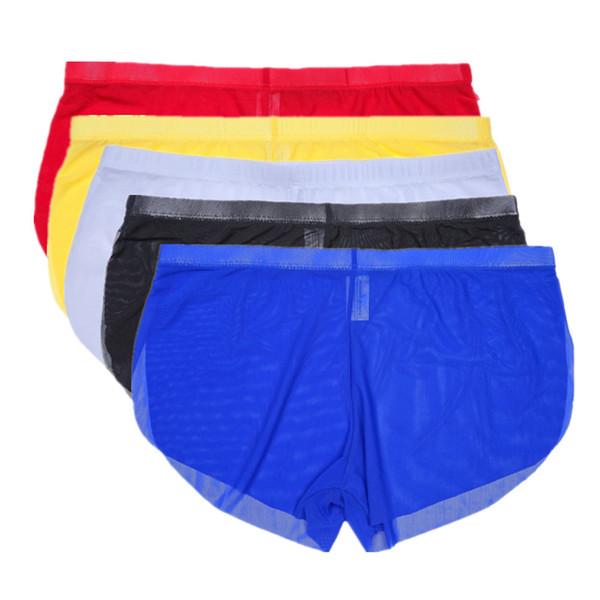 Ultra-thin Gauze Nylon Men Boxer Sexy Men Underwear Breathable Sexy Seamless Two-piece Panties Shorts See Through Gay