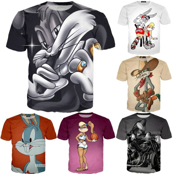 New Fashion Summer Hommes Femmes Bugs Cartoon Bunny Harajuku Style Drôle 3D Imprimer Casual T-shirt À Manches Courtes Tee Tops S-5XL