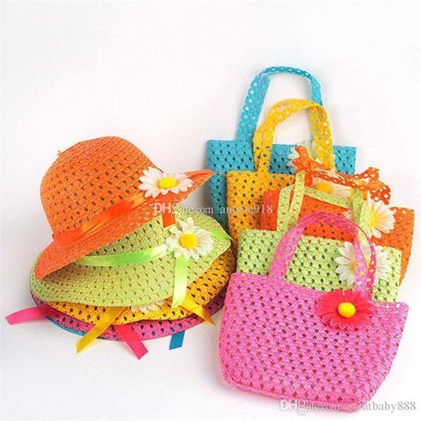 top popular 2018 Lovely Sunflower Flower cap Children sunhat baby girls Casual Beach Sun Straw Hat+Straw Handbag 2pcs set for kids 9 colors C1938 2020