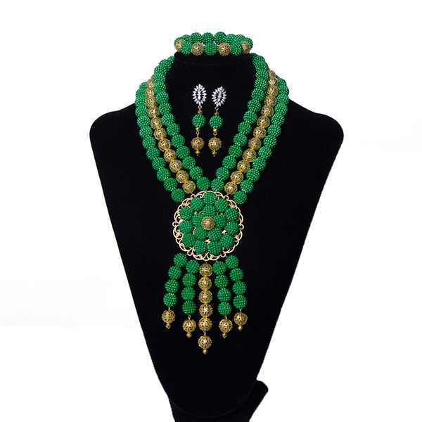 Hot party jewelry Green Pearl Necklace earrings and Bracelet Set African Bridal Wedding beaded chain for jewelry Free Shipping