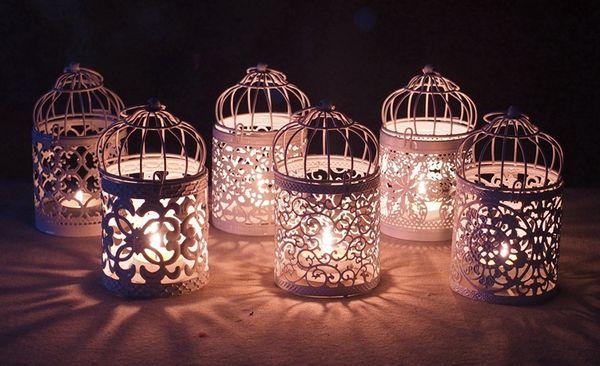 Metal Vintage Candlesticks Votive Candle Holder Lantern Birdcage Decorative Moroccan Hanging Lantern Home Decoration Accessories