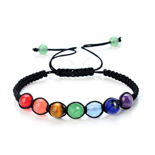 2018 DIY 7 Colorful Natural Stone Beads Crystal Chakra Bracelet For Women Braided Rope Bracelets Reiki Spiritual Yoga Jewelry