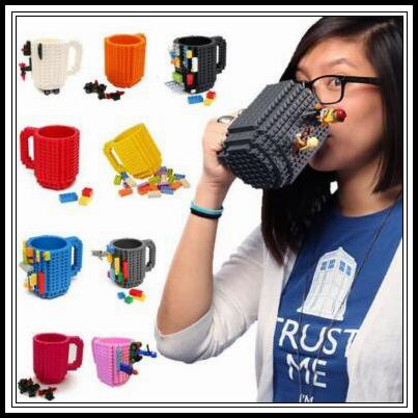 10 Colors 350ml Build-On Brick Mug Block Puzzle Mug Building Blocks Coffee Cups Frozen Coffee Tea Mug Brick Mugs CCA9323 20pcs