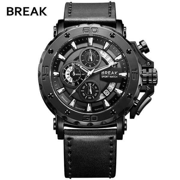 BREAK Top Luxury Hot Fashion Casual Sport Watch Men Chronograph Quartz Military Genuine Leather Relogio Masculino Wrist Watch