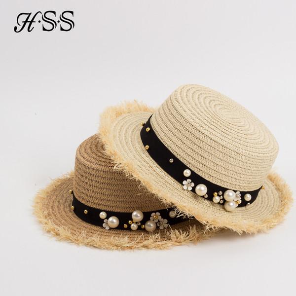HSS Hot Sale+Flat top straw hat Summer Spring women's trip caps leisure pearl beach sun hats M letter breathable fashion flower S18101708