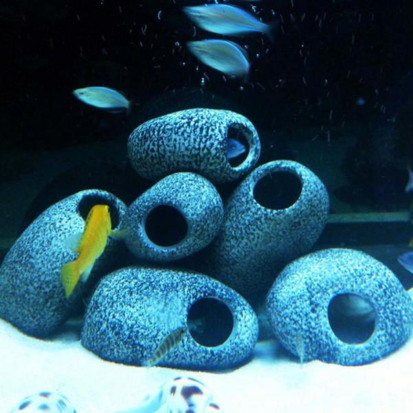 1pc petite roche grotte en céramique en pierre décoration pour aquarium réservoir de poissons Cichlidés